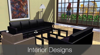 Interior design for kitchen, bathroom and living room