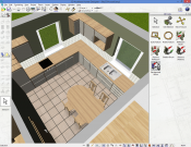 3D kitchen interior in the design stage. View from the top